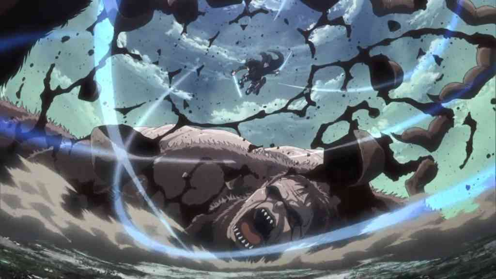 獣の巨人を倒すリヴァイ
